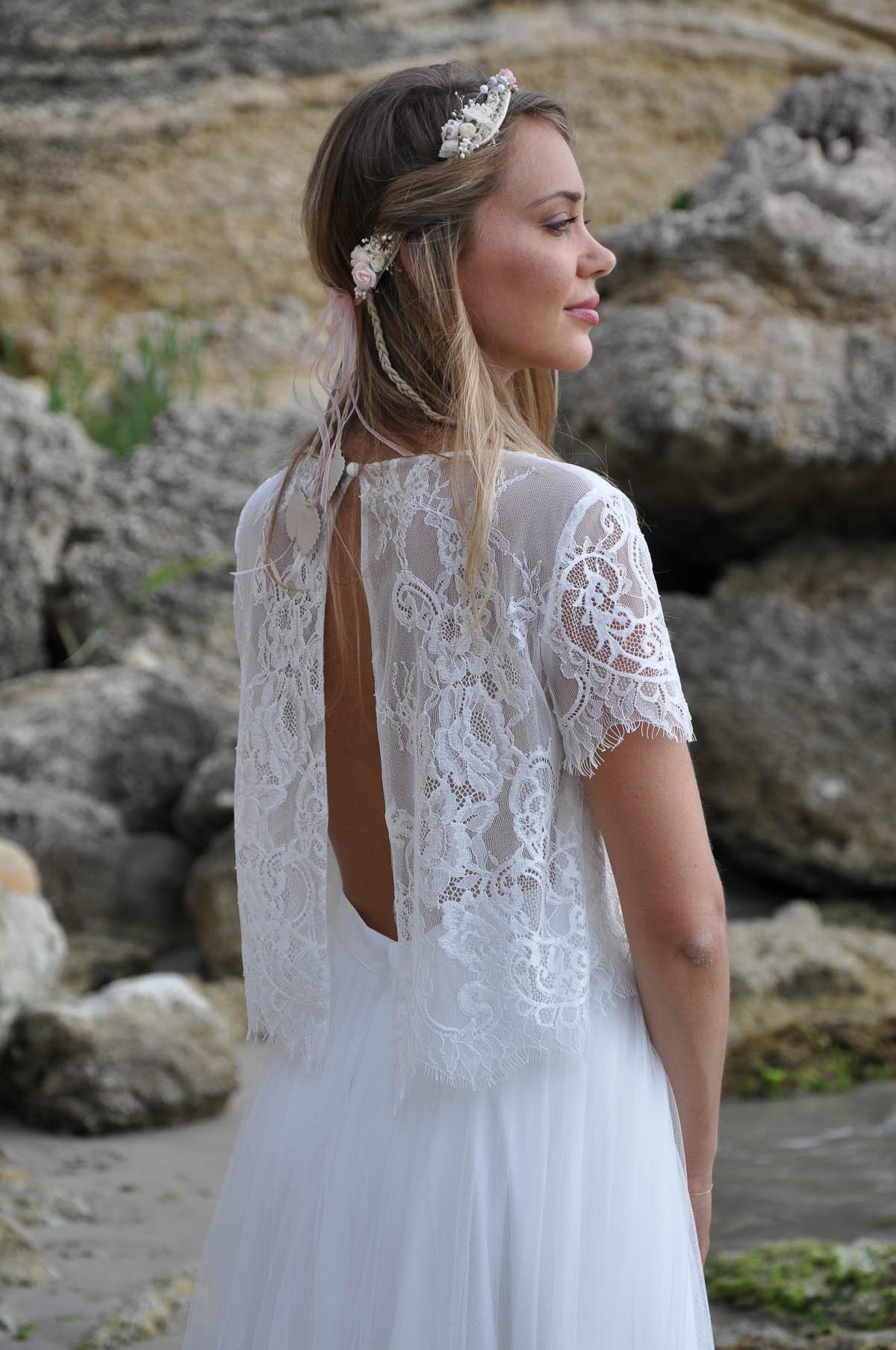 29 - MAYA Robe de mariage robe de mariée manches courtes rétro robe ... e2023e874708